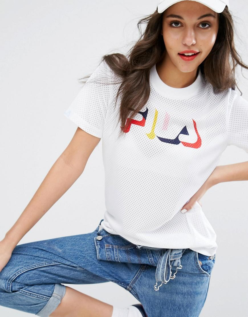 fila relaxed tshirt with multi colour logo in mesh in. Black Bedroom Furniture Sets. Home Design Ideas