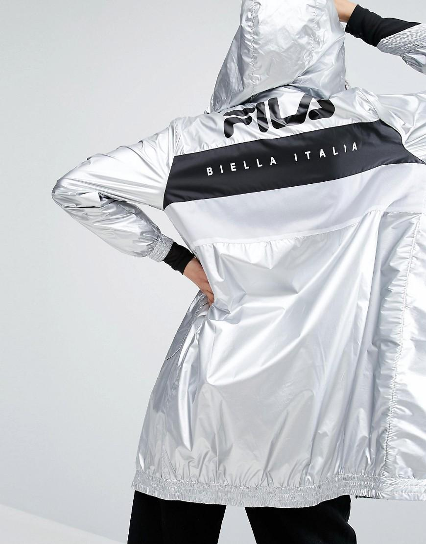 fila zip through metallic hooded jacket in metallic lyst. Black Bedroom Furniture Sets. Home Design Ideas