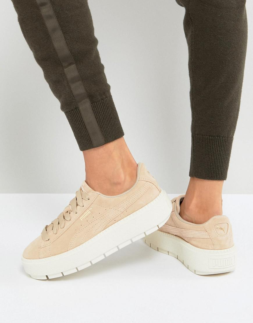 a73e1d0facb PUMA Platform Trace Trainers In Sand With Contrast Sole in Natural ...