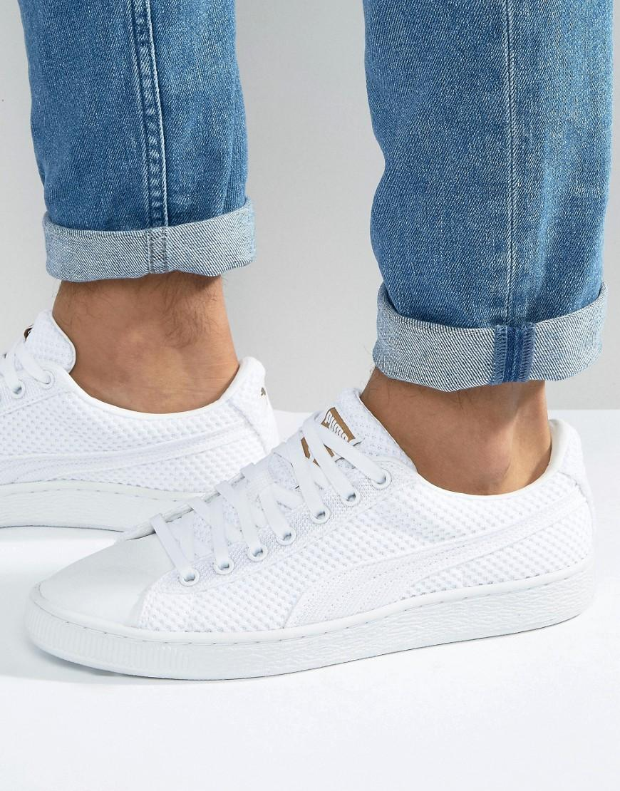 puma basket tech sneakers in white 36316303 in white for men lyst. Black Bedroom Furniture Sets. Home Design Ideas