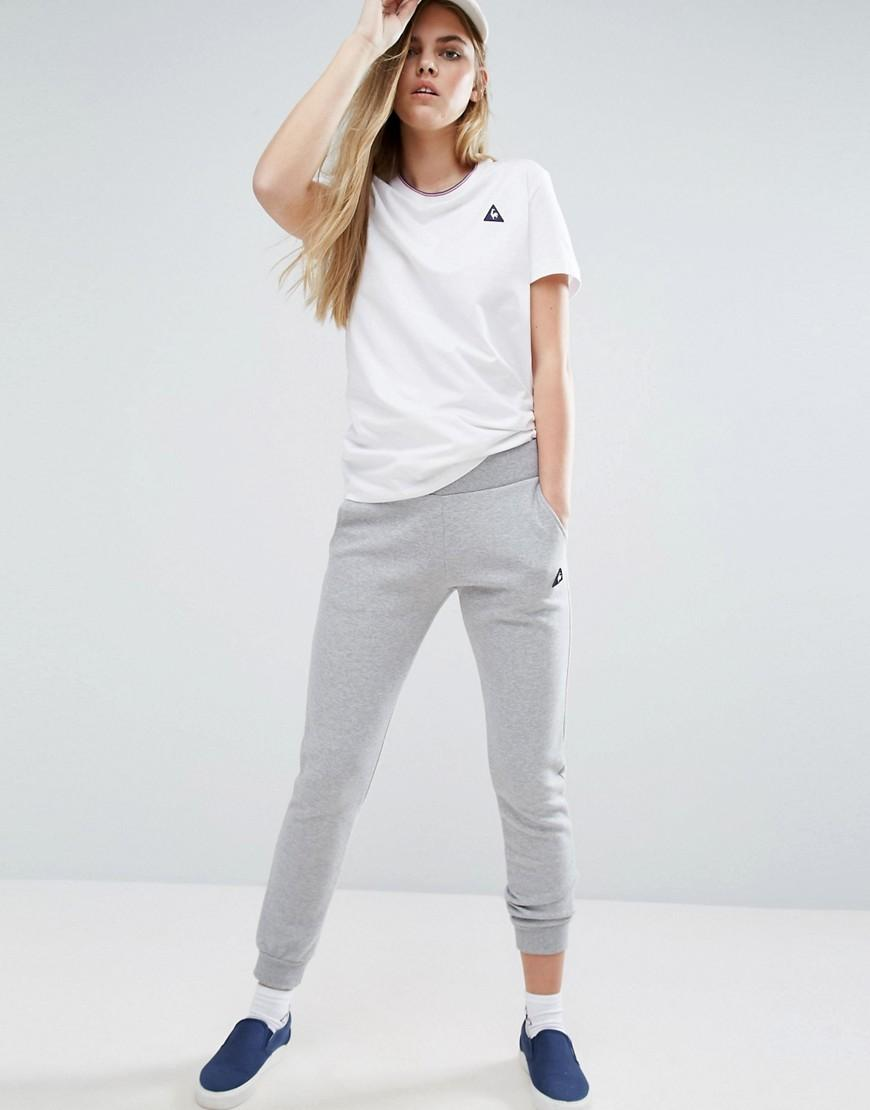 le coq sportif skinny sweat pants in gray lyst. Black Bedroom Furniture Sets. Home Design Ideas