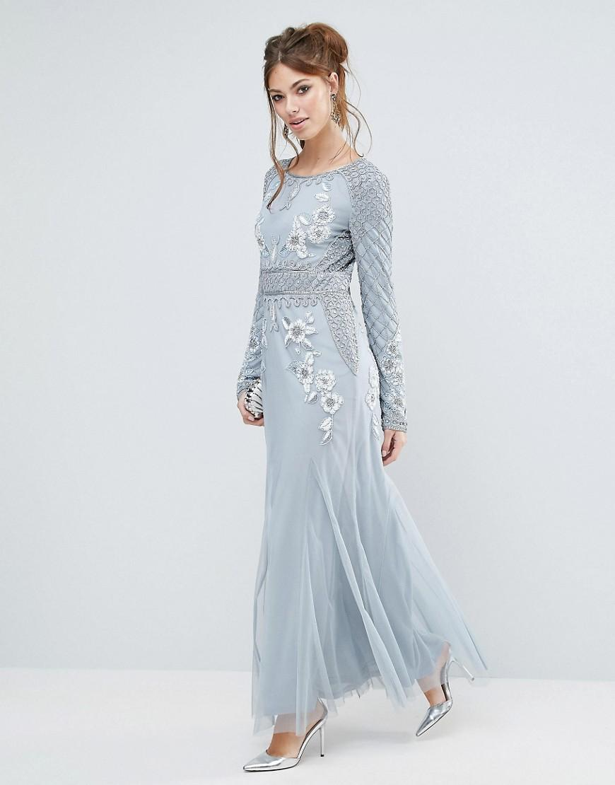 Lyst - Frock And Frill Long Sleeved Embellished Maxi Dress in Gray