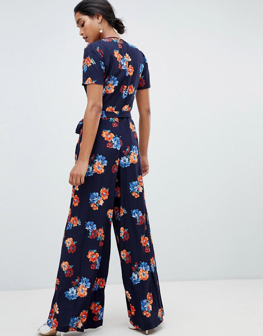 2e6d975fe18 Oasis Wide Leg Jumpsuit In Floral Print in Blue - Lyst