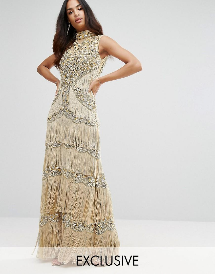 9c928d79c83 A Star Is Born Embellished High Neck Maxi Dress With Fringe in ...