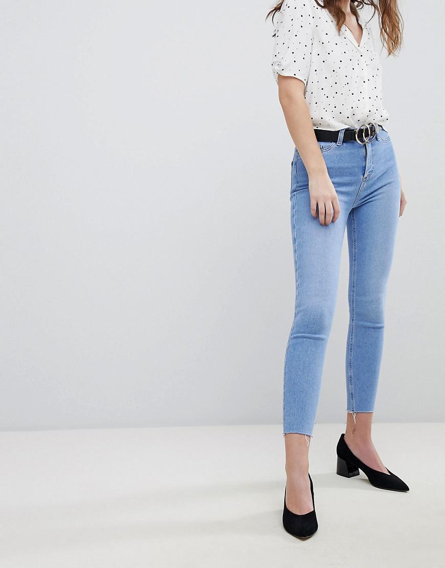 New Taille Super En Jean Lyst Coloris Et Franges Haute Skinny Look t0Twq