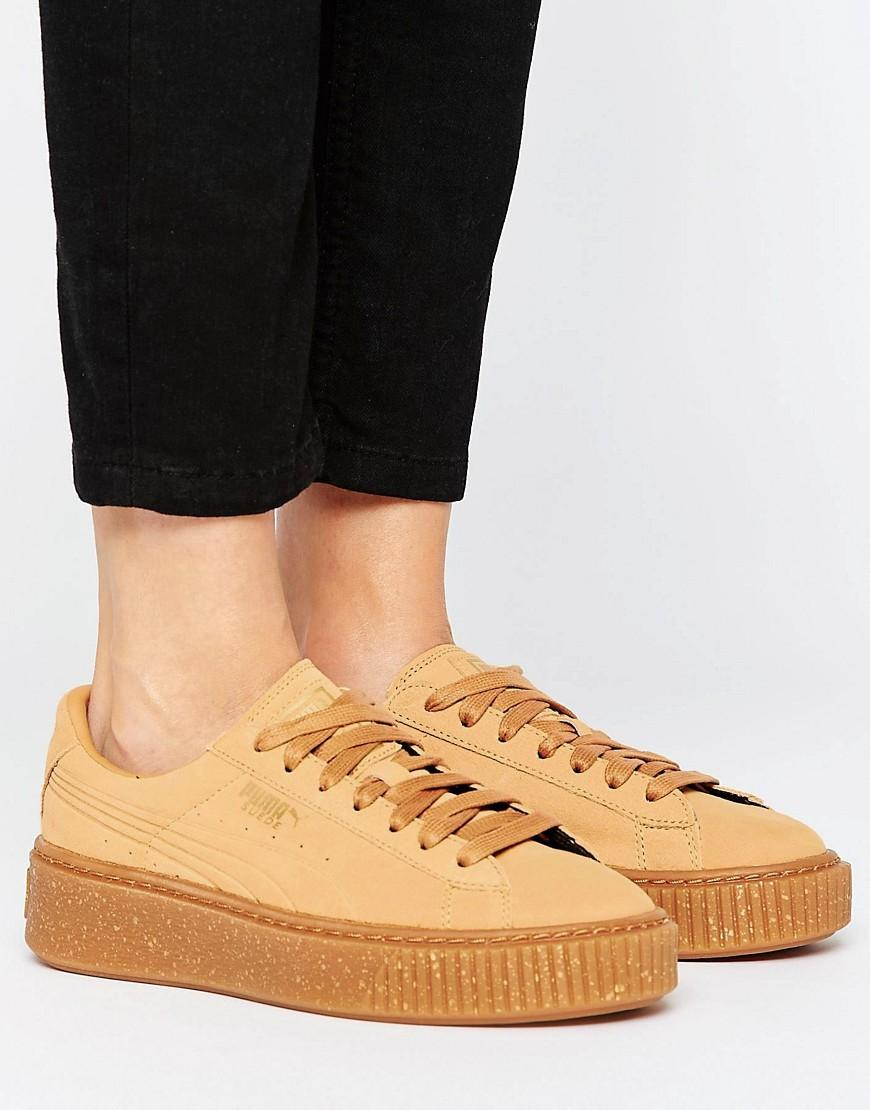 puma platform trainers in biscuit suede with speckle gum. Black Bedroom Furniture Sets. Home Design Ideas