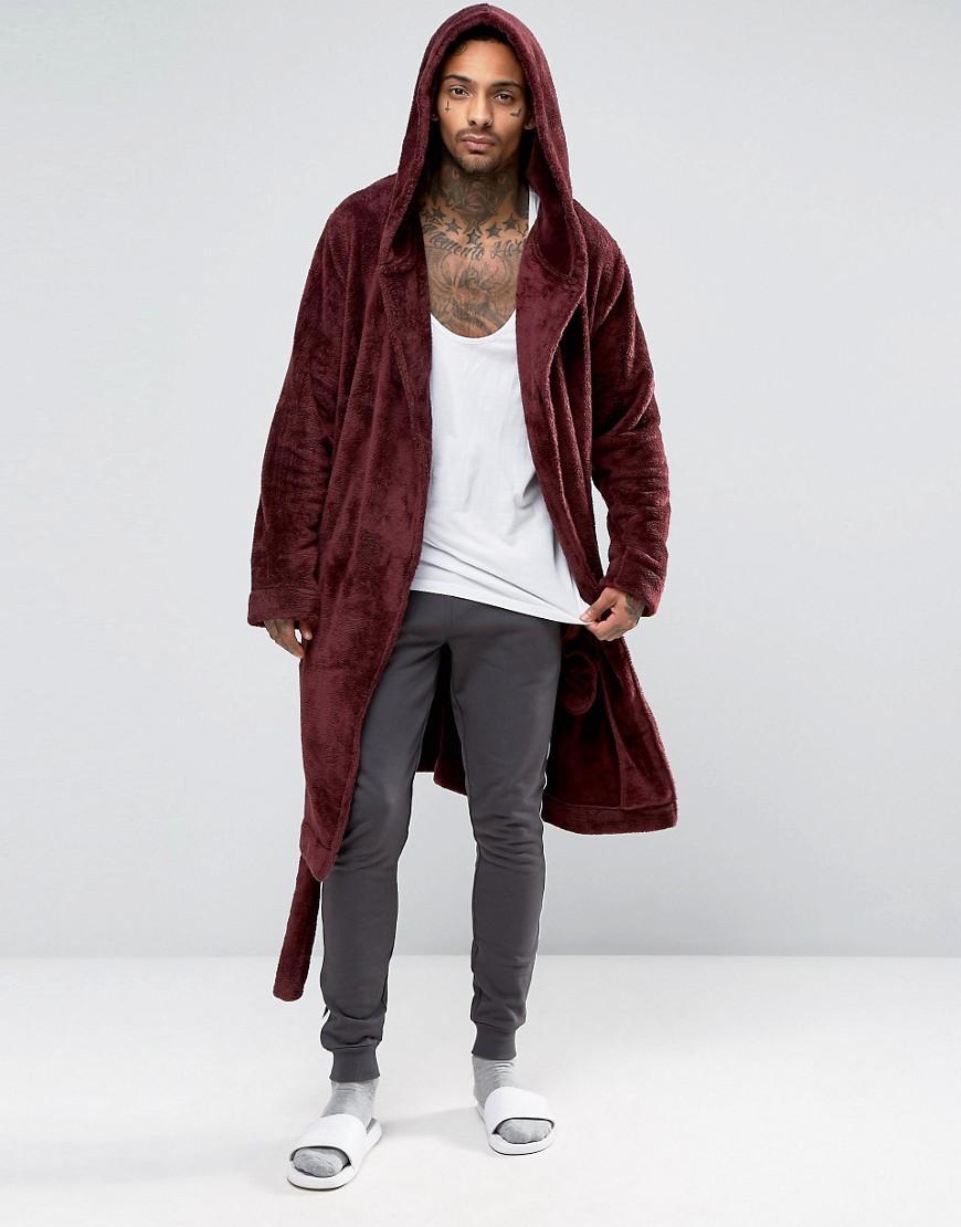 Lyst - Asos Hooded Fleece Robe In Burgundy in Red for Men
