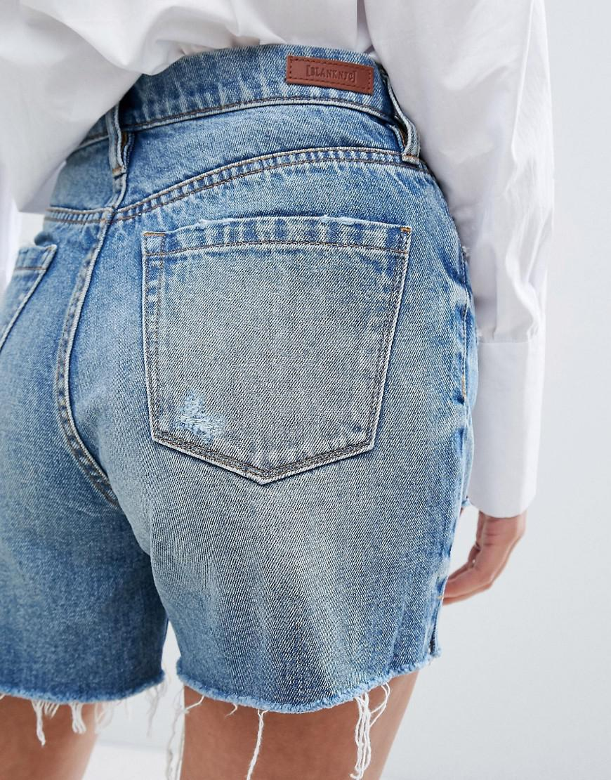 5a8b76df33181 Lyst - Blank NYC Highwaisted Boyfriend Shorts With Rips in Blue