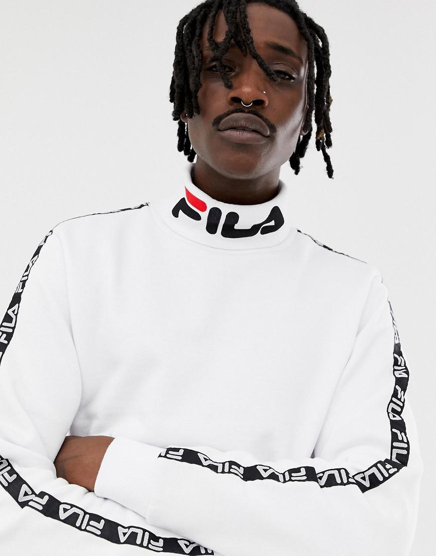 df3ef2279fd6 Fila Black Line Drey Logo Turtleneck Sweatshirt With Taping In White ...