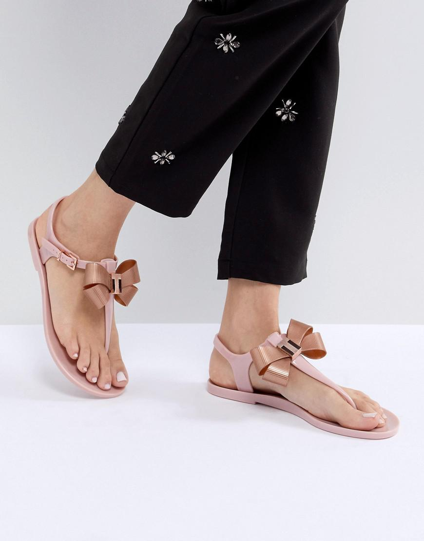 43095f76fab0 Lyst - Ted Baker Camaril Pink T-bar Bow Flat Sandals in Pink
