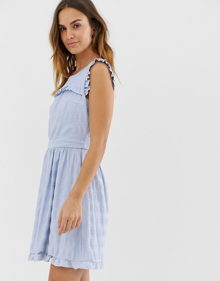 e56c6b2e1fee Naf Naf Skater Dress With Embroidery Layer in Blue - Lyst