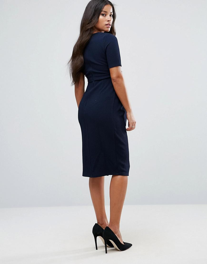 c15e61d73a6 ASOS Asos Design Maternity Double Layer Textured Smart Dress in Blue - Lyst