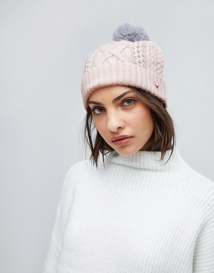 Ted Baker Cable Knit Bobble Hat in Pink - Lyst a73076aa1070