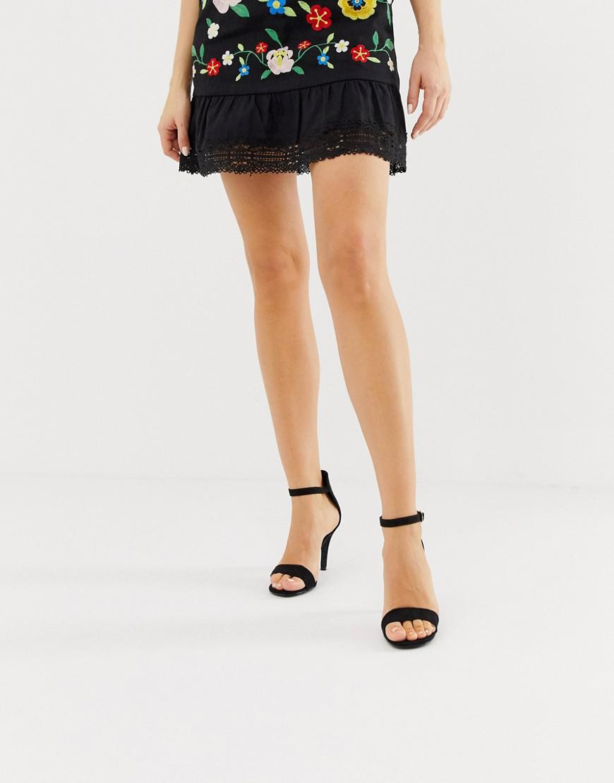 50804037017 Lyst - Oasis Barely There Heeled Sandals In Black in Black