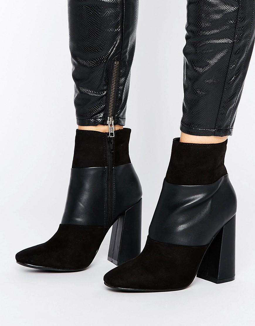 new look suedette paneled heeled ankle boots in black lyst