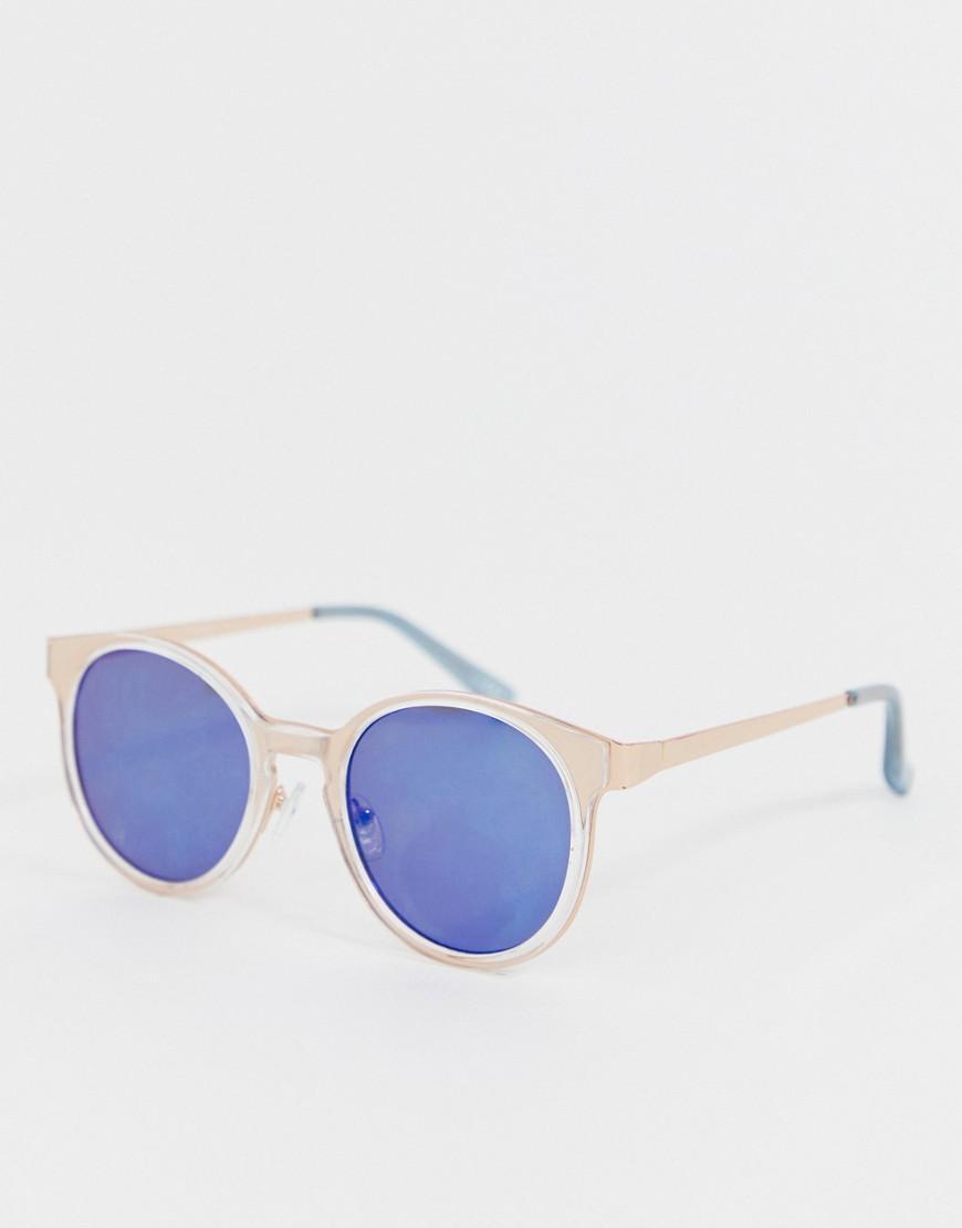 9dff4a141da ASOS. Men s Metallic Round Sunglasses In Rose Gold With Blue Mirror Lens