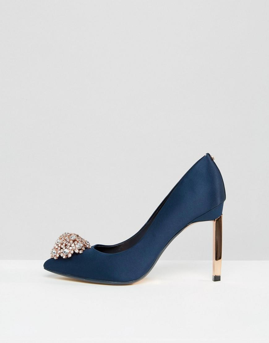 ad73b84ecb34bb Lyst - Ted Baker Peetch Tie The Knot Navy Embellished Pumps in Blue