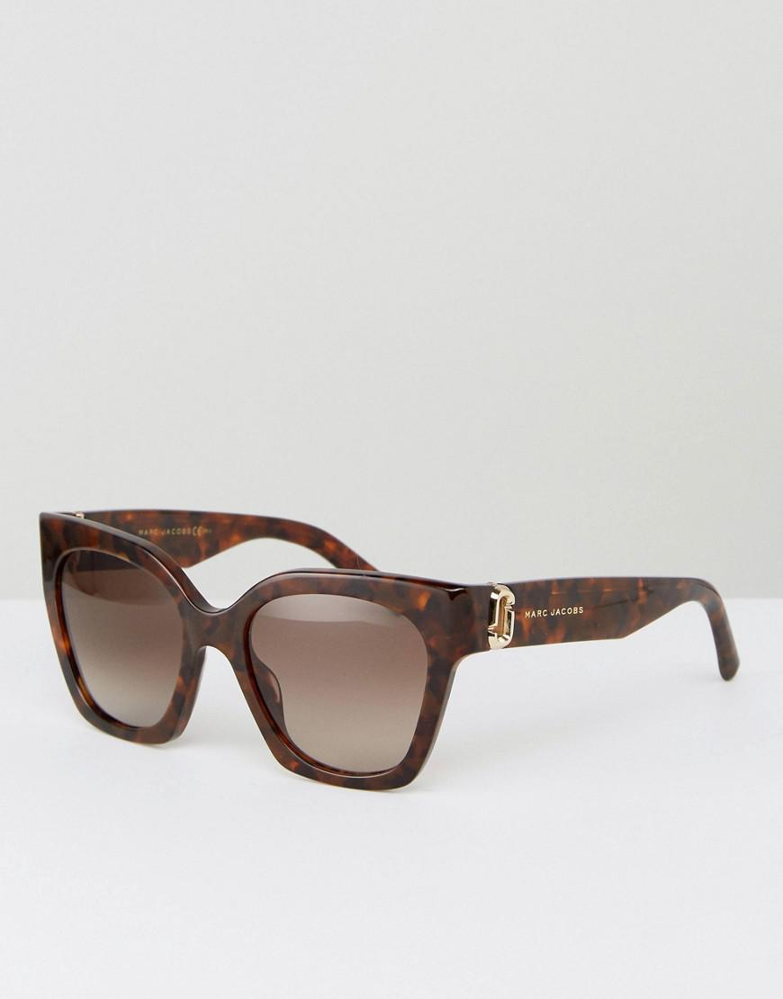cfc3600981 Marc Jacobs Logo Cat Eye Sunglasses In Tort in Brown - Lyst