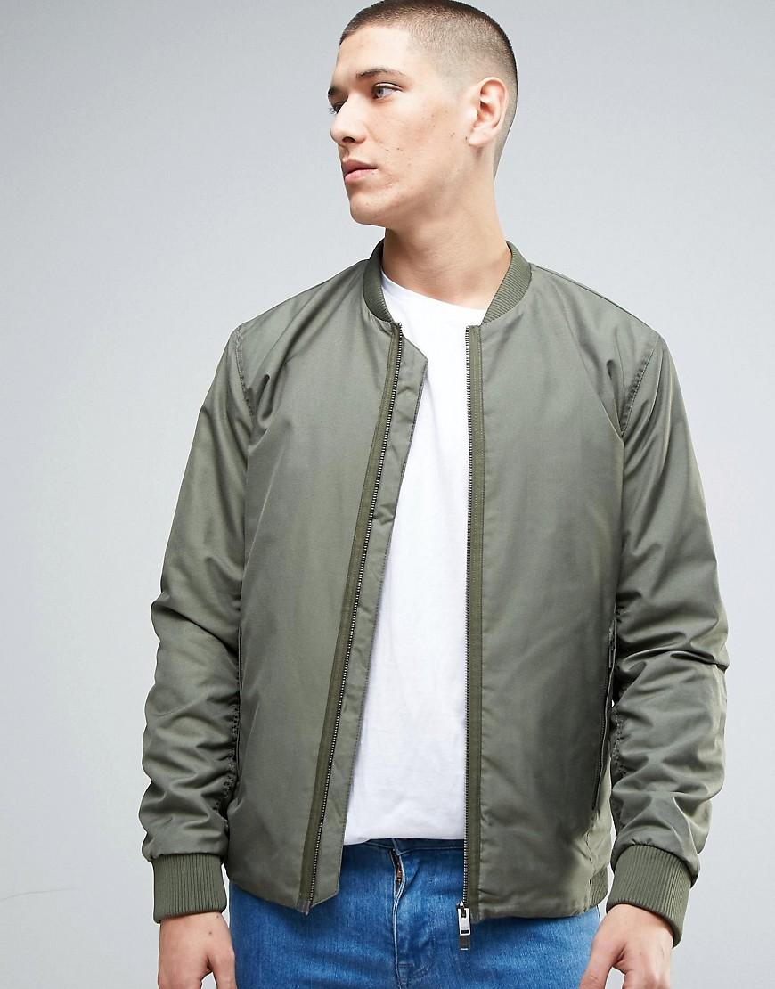 selected bomber jacket with two way zip in green for men lyst. Black Bedroom Furniture Sets. Home Design Ideas