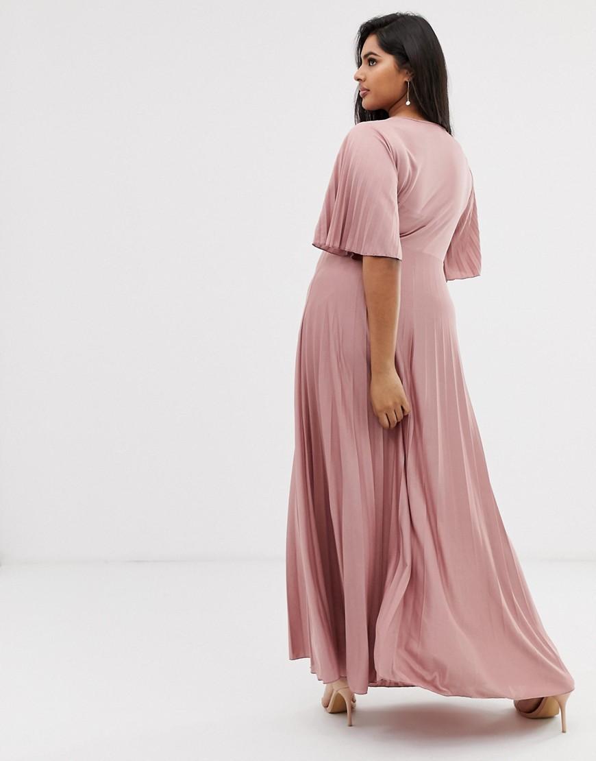 ea9cb91efd94 ASOS Asos Design Curve Kimono Pleated Maxi Skater Dress in Pink - Save 8% -  Lyst