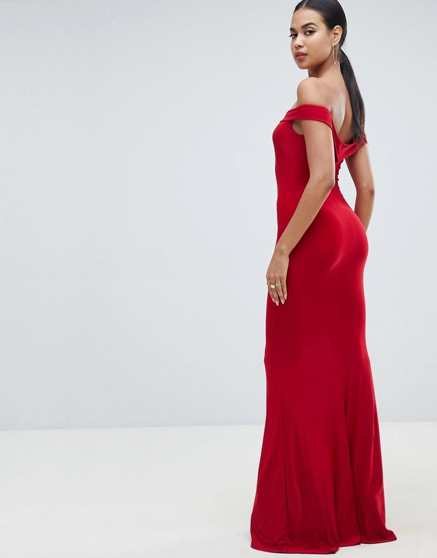 e75d6bedde38 Club L Bardot Fishtail Maxi Dress in Red - Lyst