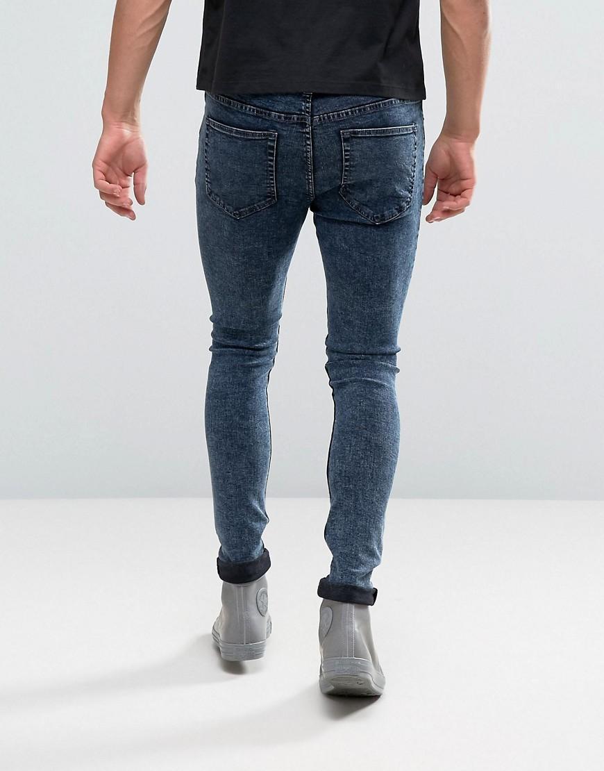 new look super skinny jeans in acid blue wash in blue for men lyst. Black Bedroom Furniture Sets. Home Design Ideas