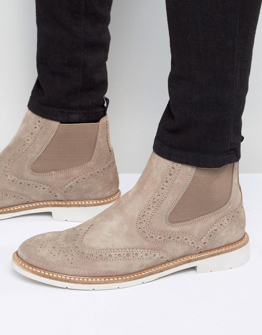 tommy hilfiger multicolor metro suede brogue chelsea boots for men. Black Bedroom Furniture Sets. Home Design Ideas