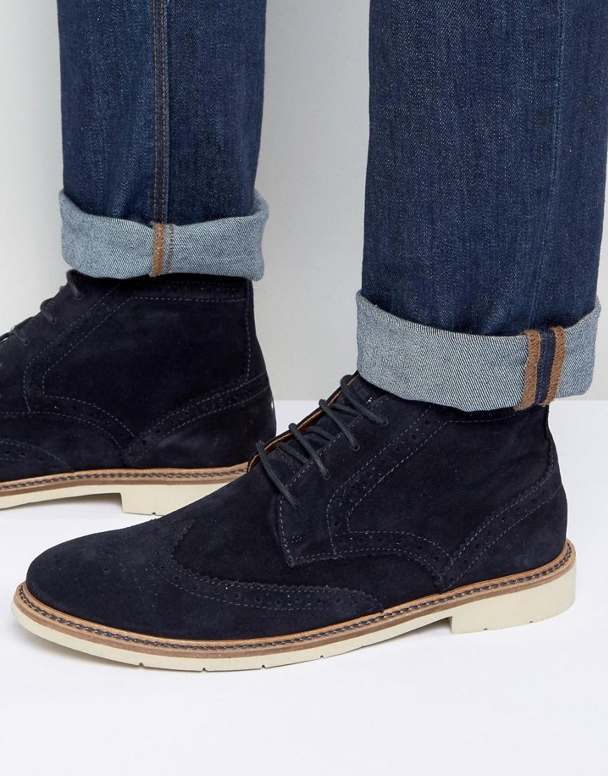 28c89d07ed8aa3 Lyst - Tommy Hilfiger Metro Suede Lace Up Brogue Boots in Blue for Men