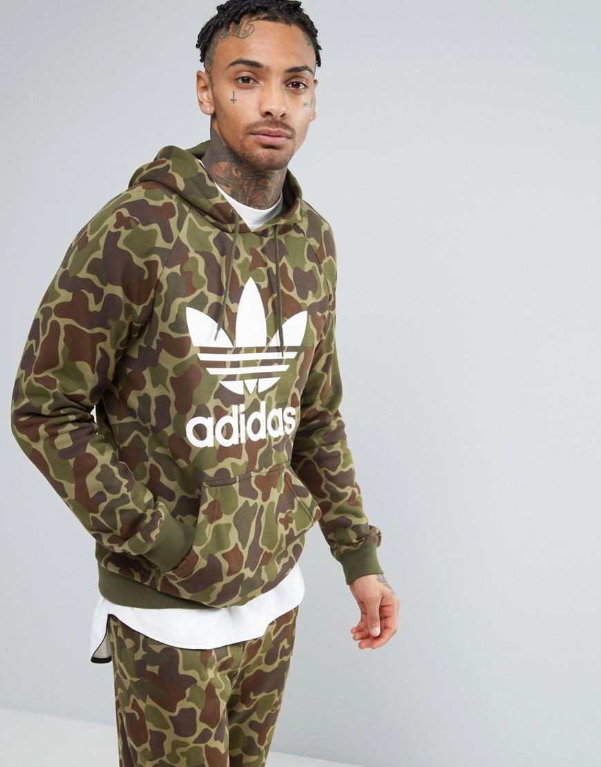 adidas originals pullover hoodie in camo bk5884 in green. Black Bedroom Furniture Sets. Home Design Ideas