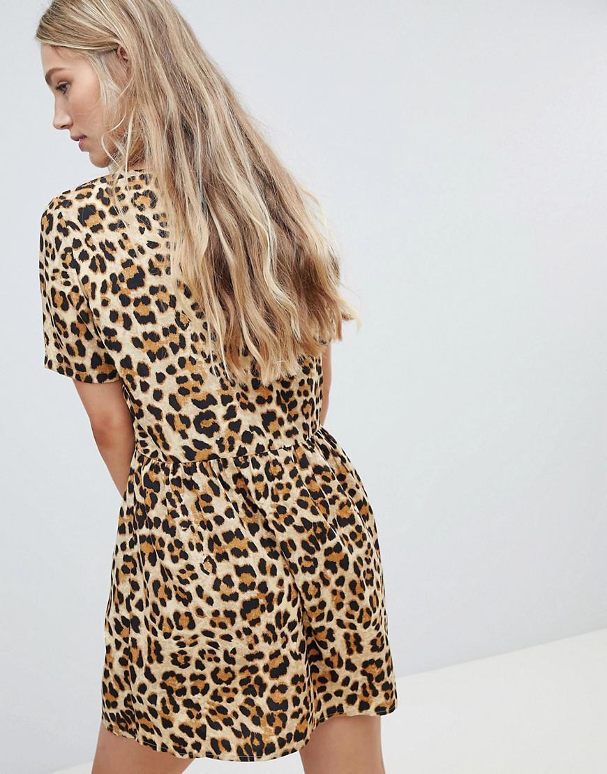 236258b499 Lyst - Vero Moda Oversize Animal Print Smock Dress