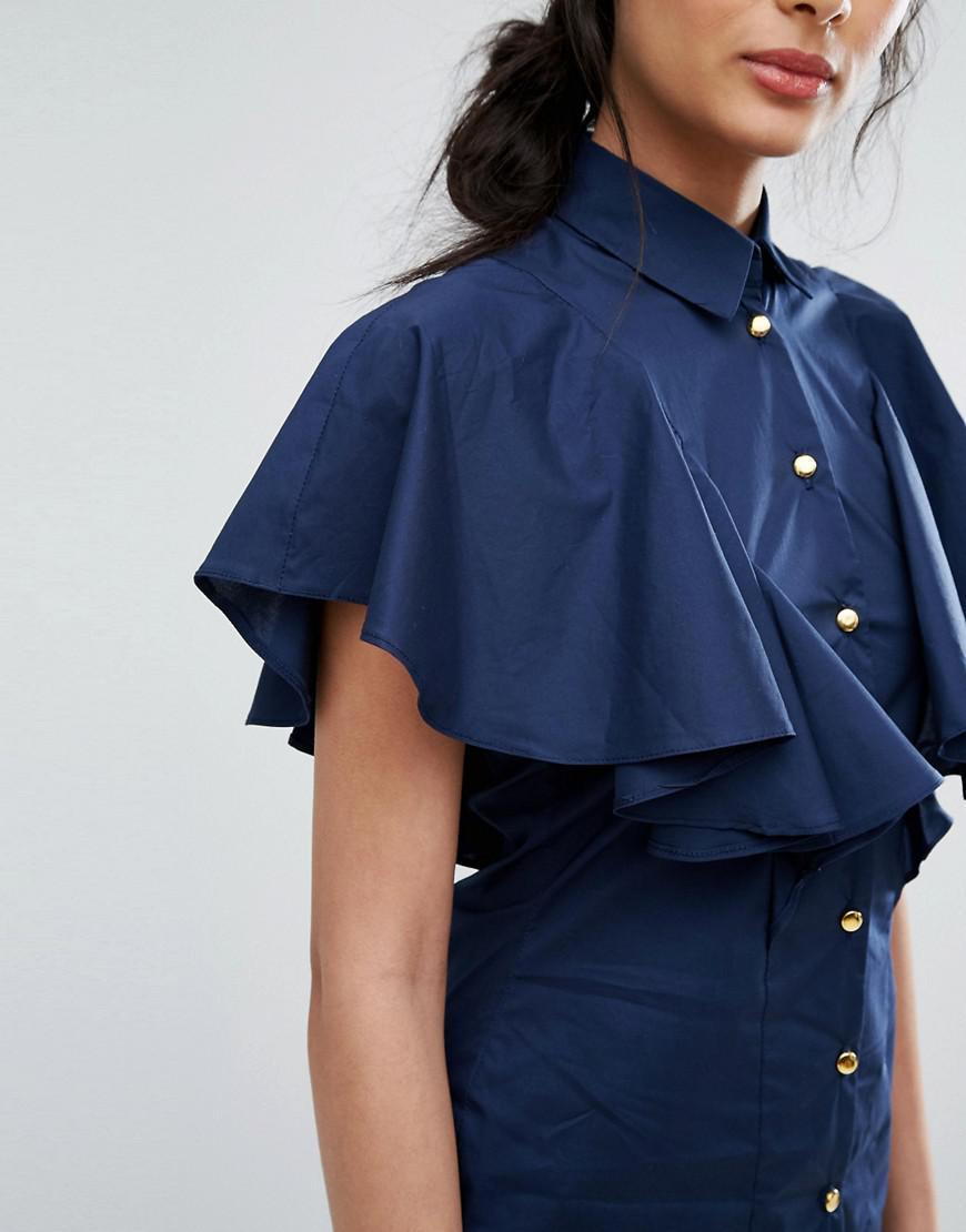 d4e2467e129 Lyst - Closet Frill Bib Shirt Dress in Blue