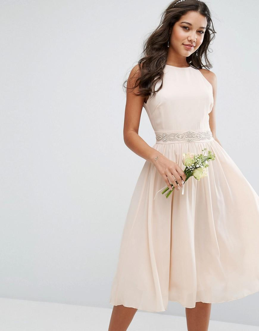 Tfnc london wedding embellished midi dress with full skirt for Full skirt wedding dress