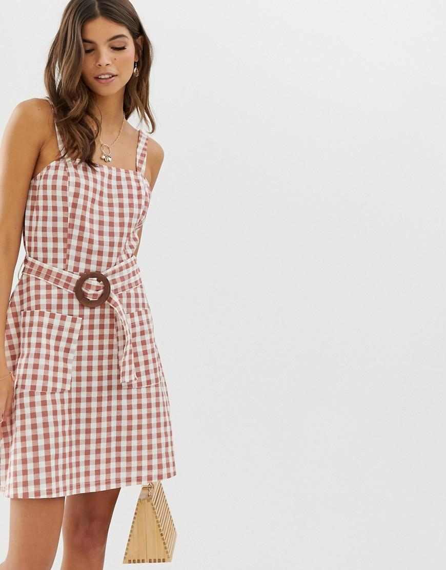 251d1f76aa46f ASOS Square Neck Linen Mini Sundress With Wooden Buckle & Contrast ...
