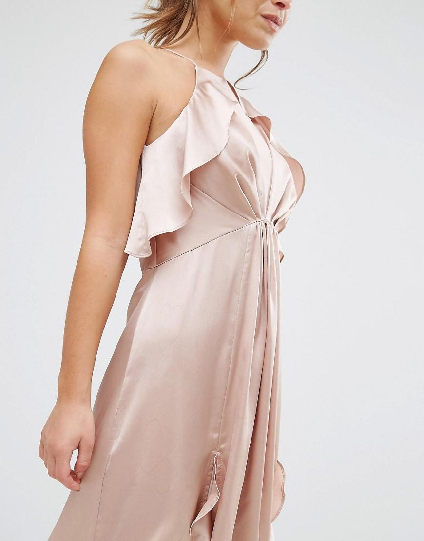 Jarlo High Neck Ruffle Detail Cami Midi Dress In Pink Lyst