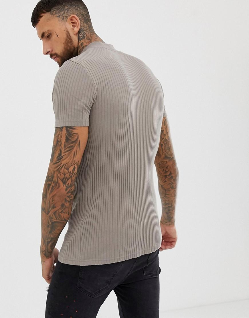 35d046cb ASOS Muscle Fit Rib T-shirt With Stretch In Beige in Natural for Men - Lyst