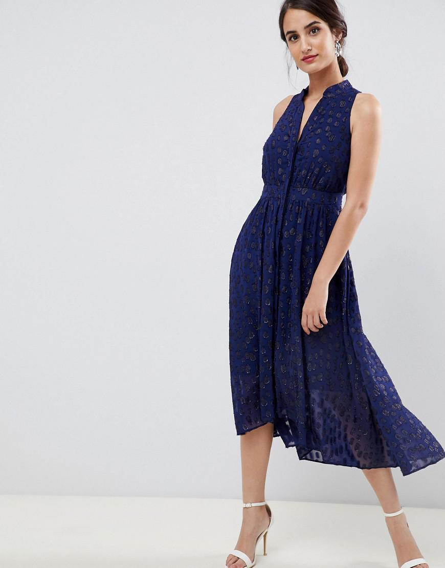 0cc7b148444d Coast Burnout Midi Dress in Blue - Lyst
