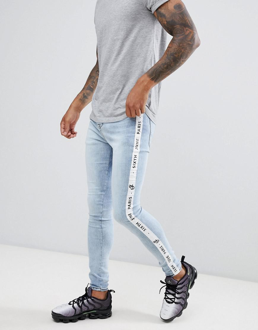 0436c1fcc9 Sixth June Skinny Jeans In Light Wash With Logo Side Stripe in Blue ...