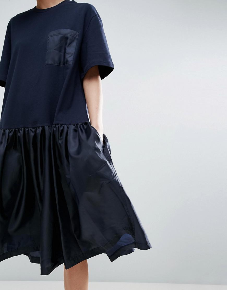 f6ff20a81 Lyst - ASOS Drop Waist T-shirt Dress With Satin Contrast in Blue