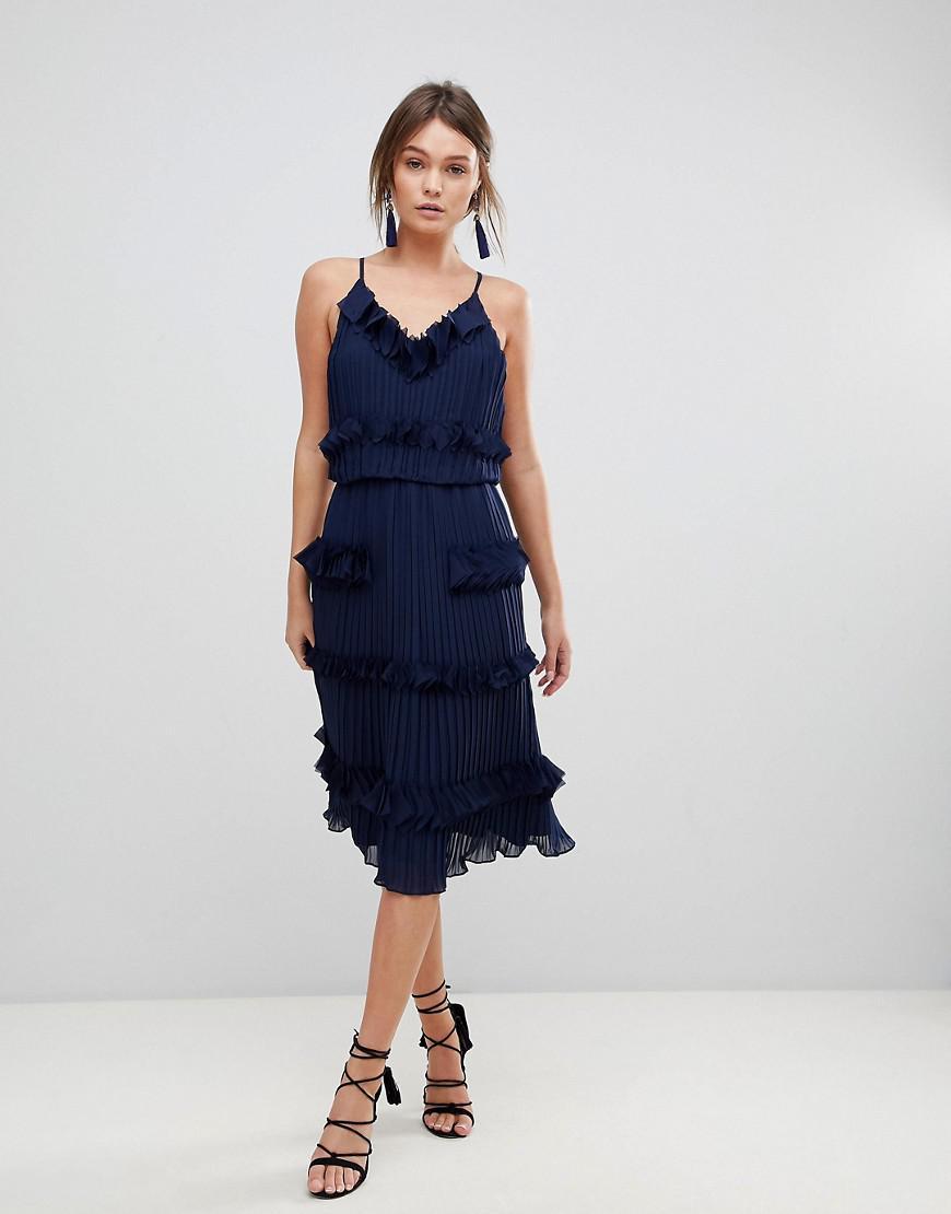5b8b02d92a6 True Decadence Premium Pleated Ruffle Skater Dress in Blue - Lyst