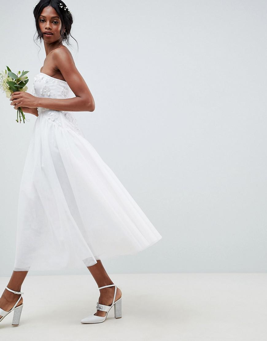 6cc31c5a49c ASOS Bandeau Tulle Embellished Midi Wedding Dress in White - Lyst