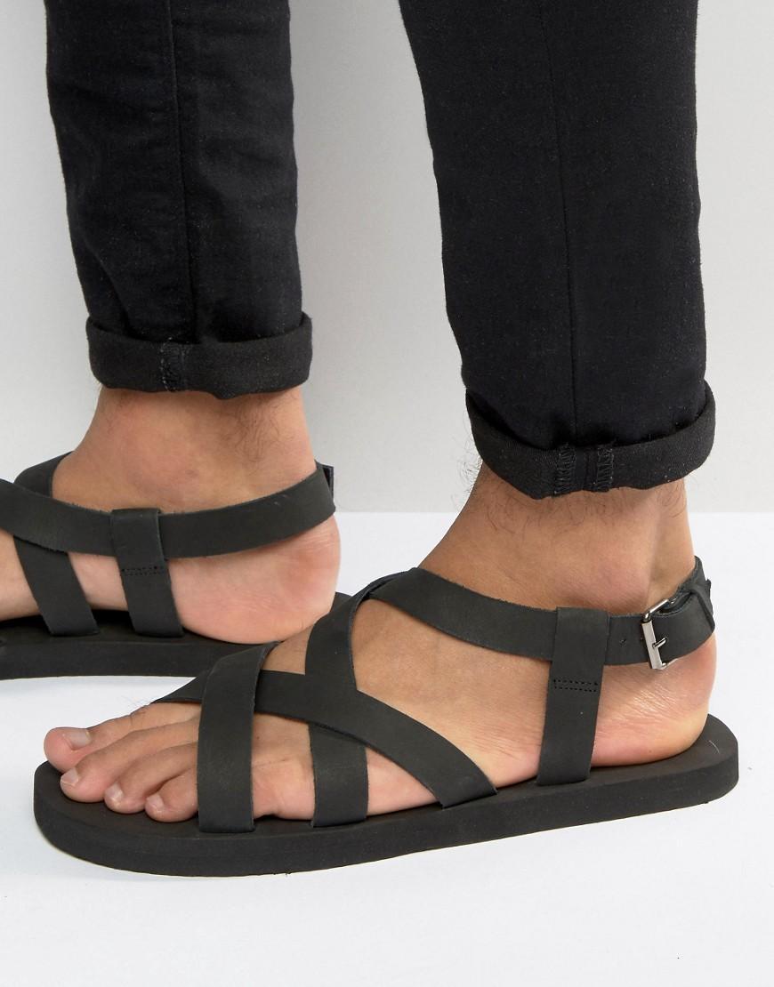 Black nubuck sandals - Asos Men S Cross Over Sandals In Black Nubuck Leather
