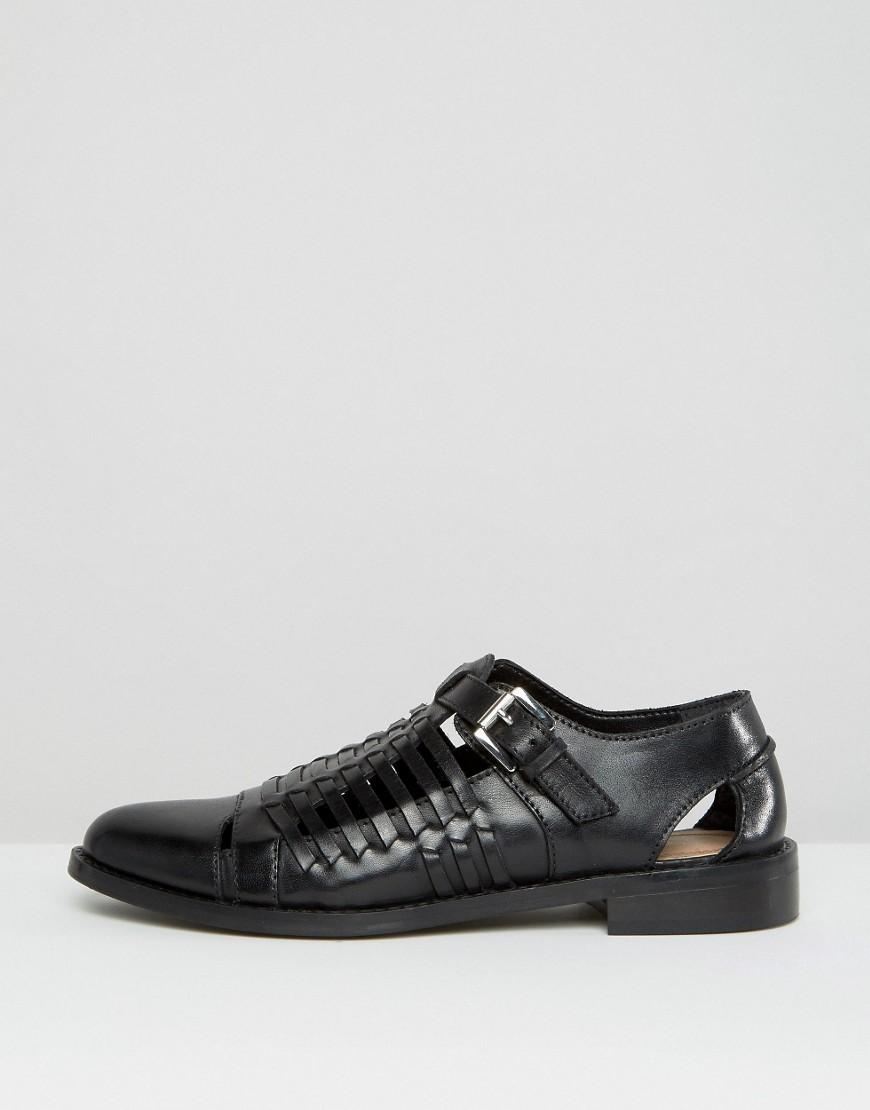Asos Monument Leather Woven Flat Shoes Black