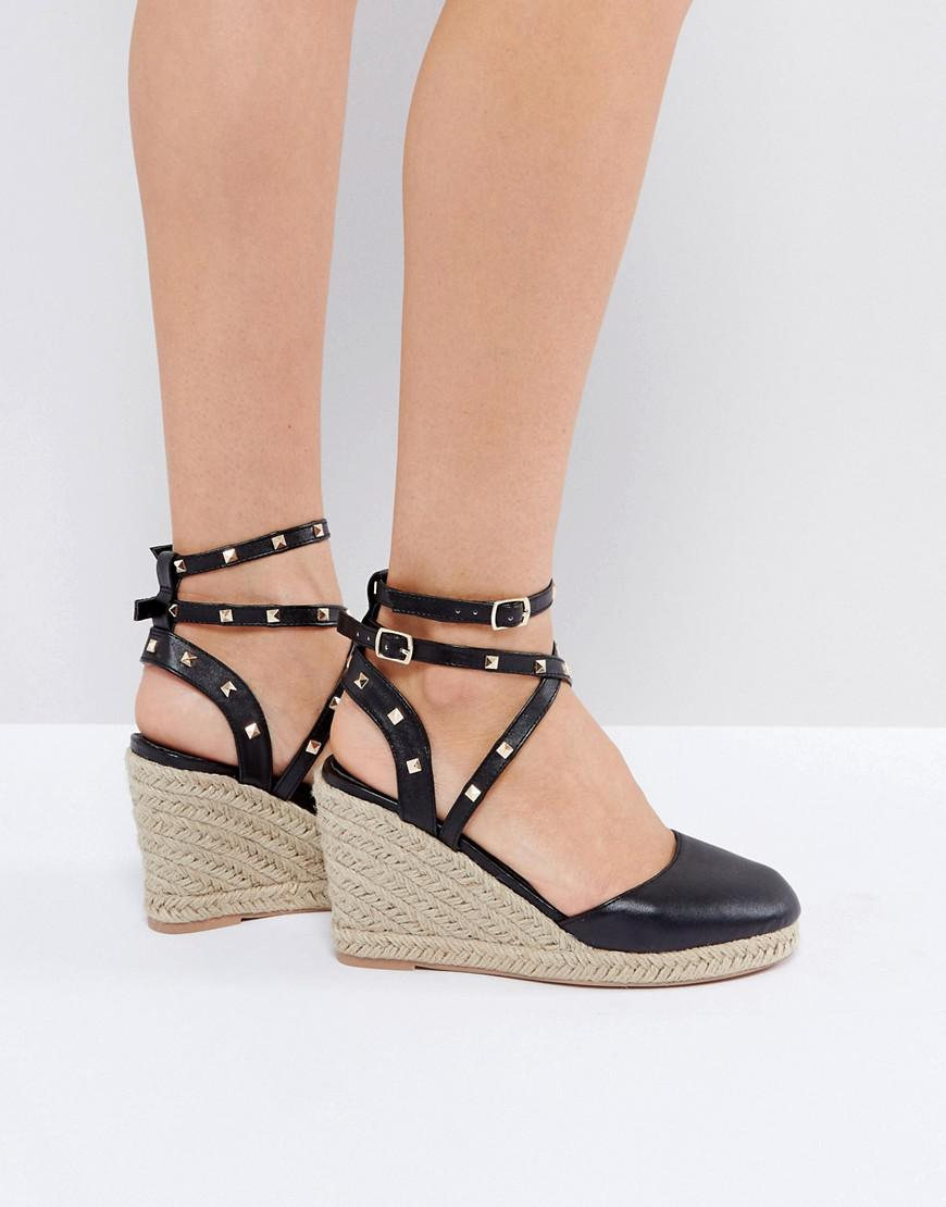 34a85327c07 Lyst - ASOS Jekyll Studded Espadrille Wedges in Black