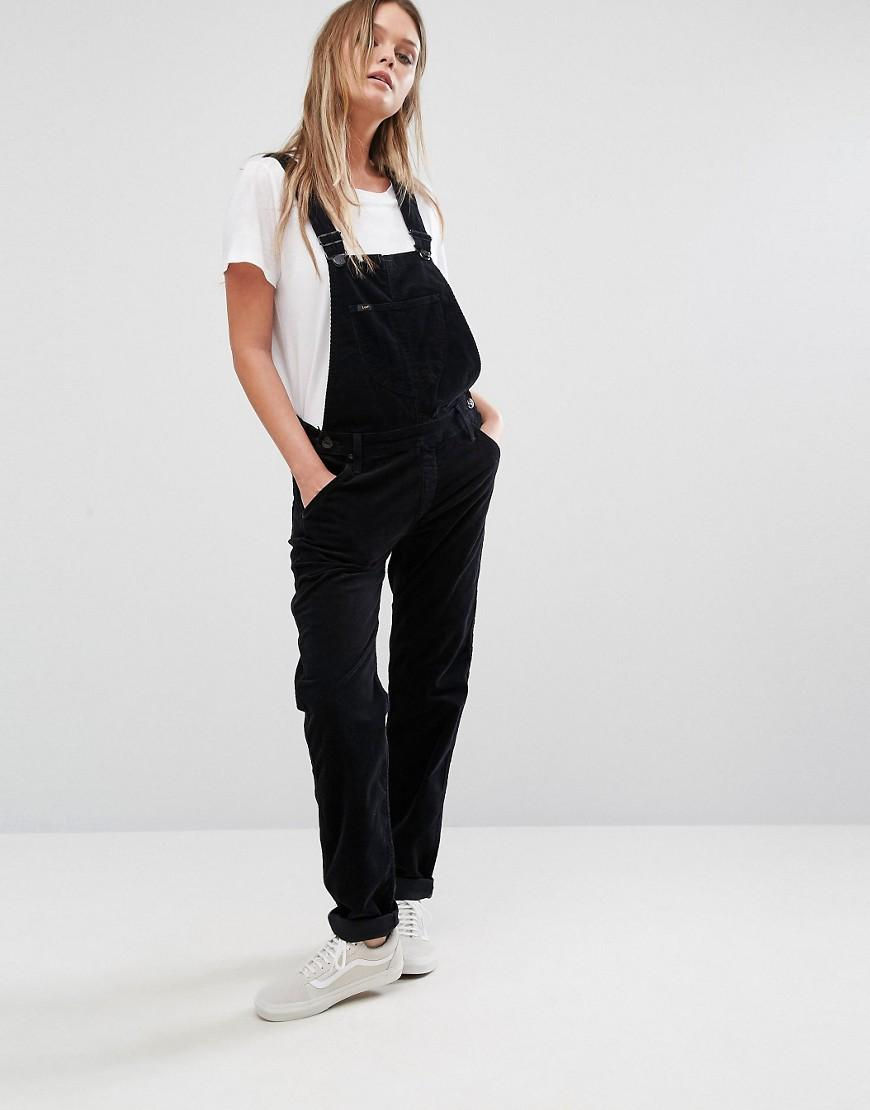 lee jeans bib cord straight leg dungarees in black lyst. Black Bedroom Furniture Sets. Home Design Ideas