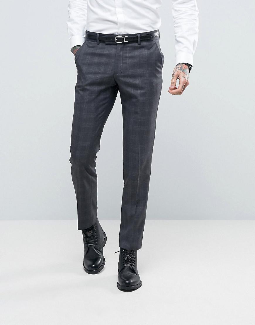 d3fe39d66d2 Lyst - Ben Sherman Slim Fit Suit Pants In Grey Overcheck in Gray for Men