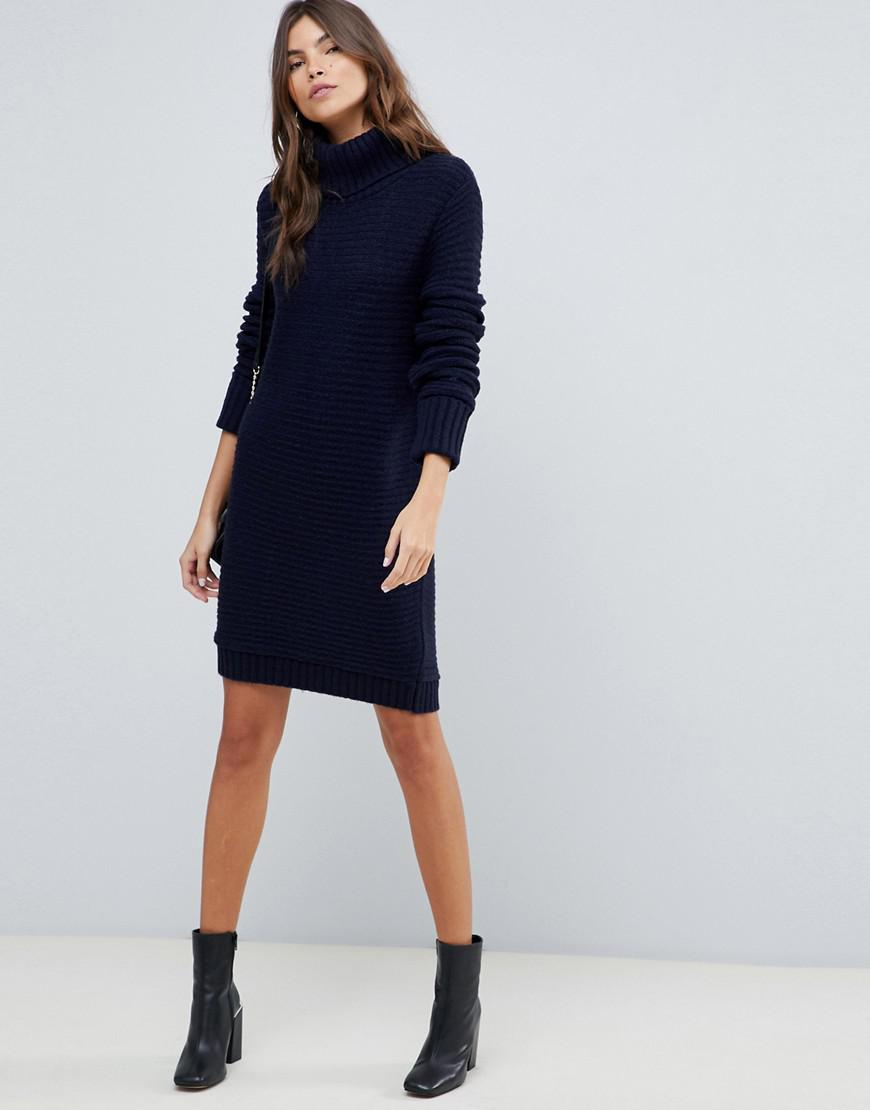 9e5f2d860d5a3 Lyst - ASOS Sweater Dress With Roll Neck In Ripple Stitch in Blue