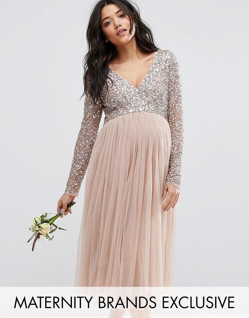Maya maternity long sleeve midi dress with delicate sequin and gallery ombrellifo Gallery