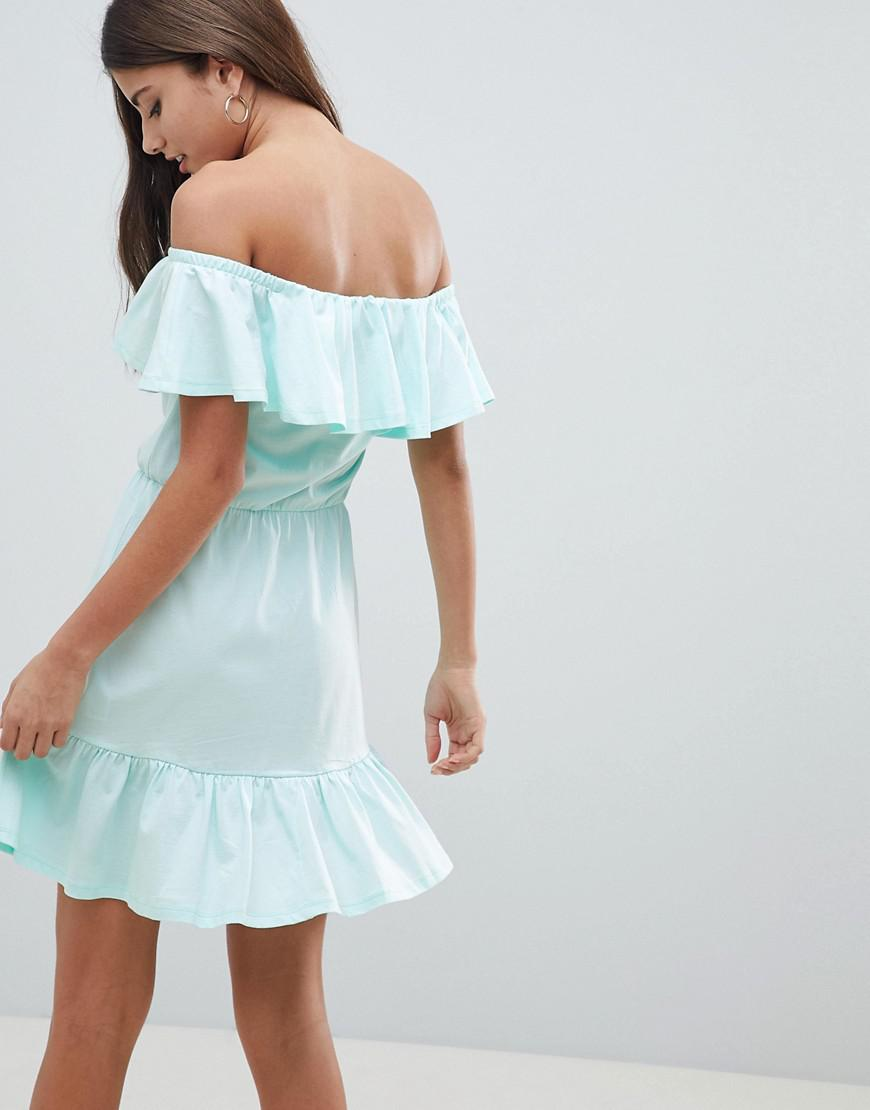 414bd28d5e2c Lyst - ASOS Off Shoulder Sundress With Tiered Skirt in Green