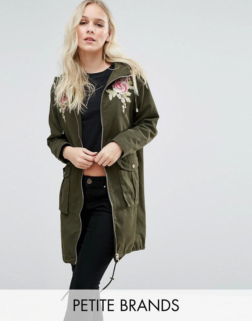 New look embroidered parka jacket in green lyst