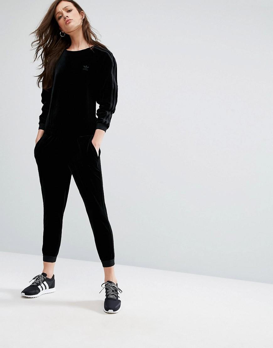 5b02018b091 Lyst - adidas Originals Originals Velvet Long Sleeve Jumpsuit With ...